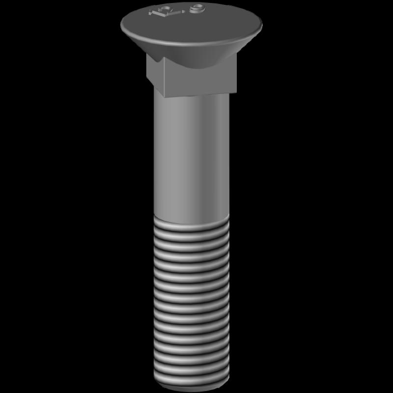Square plough bolt BTFCC12100, hardness 12.9